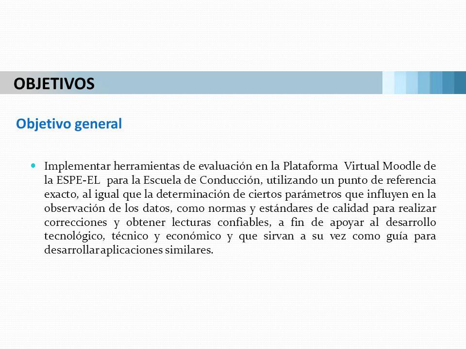 Implementar herramientas de evaluación en la Plataforma Virtual Moodle de la ESPE-EL para la Escuela de Conducción, utilizando un punto de referencia
