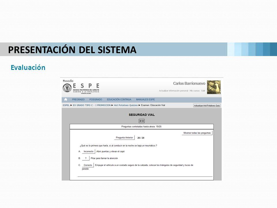 PRESENTACIÓN DEL SISTEMA Evaluación