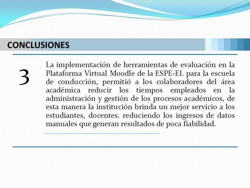 CONCLUSIONES 3 La implementación de herramientas de evaluación en la Plataforma Virtual Moodle de la ESPE-EL para la escuela de conducción, permitió a