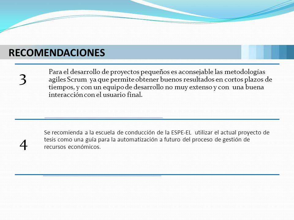 RECOMENDACIONES 3 Para el desarrollo de proyectos pequeños es aconsejable las metodologías agiles Scrum ya que permite obtener buenos resultados en co