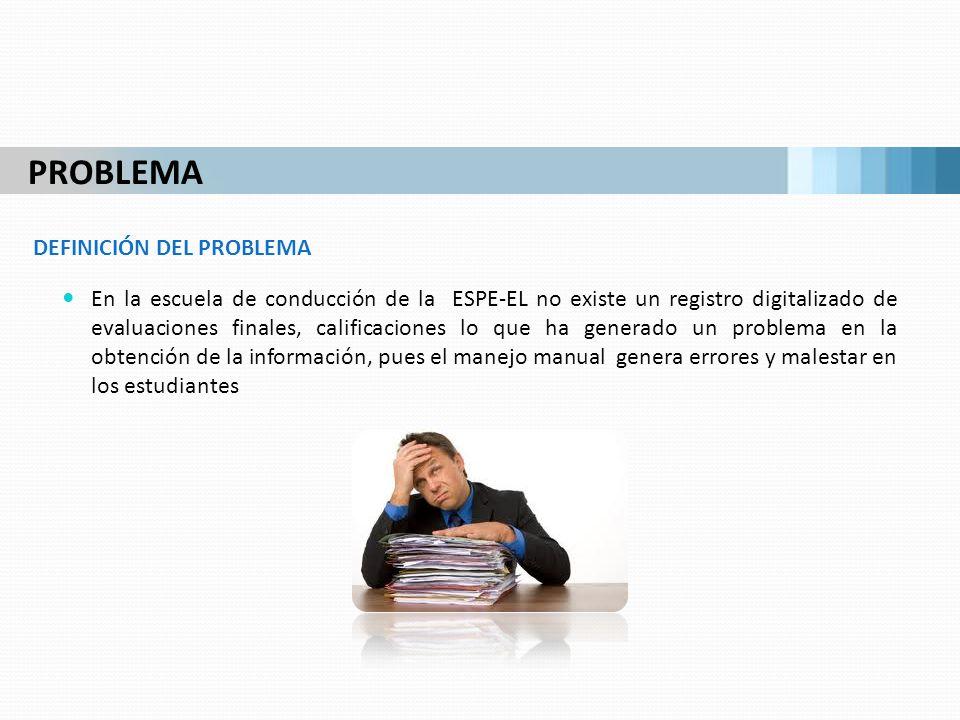 En la escuela de conducción de la ESPE-EL no existe un registro digitalizado de evaluaciones finales, calificaciones lo que ha generado un problema en