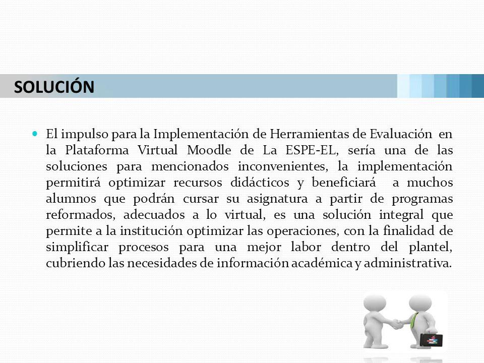 El impulso para la Implementación de Herramientas de Evaluación en la Plataforma Virtual Moodle de La ESPE-EL, sería una de las soluciones para mencio