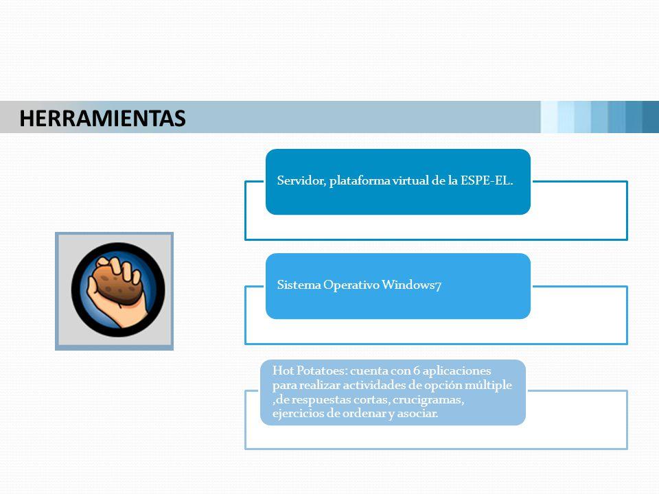 HERRAMIENTAS Servidor, plataforma virtual de la ESPE-EL.Sistema Operativo Windows7 Hot Potatoes: cuenta con 6 aplicaciones para realizar actividades d