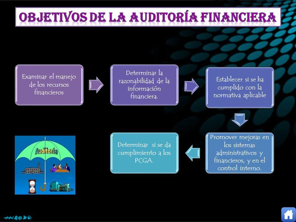Examinar el manejo de los recursos financieros Determinar la razonabilidad de la información financiera. Establecer si se ha cumplido con la normativa