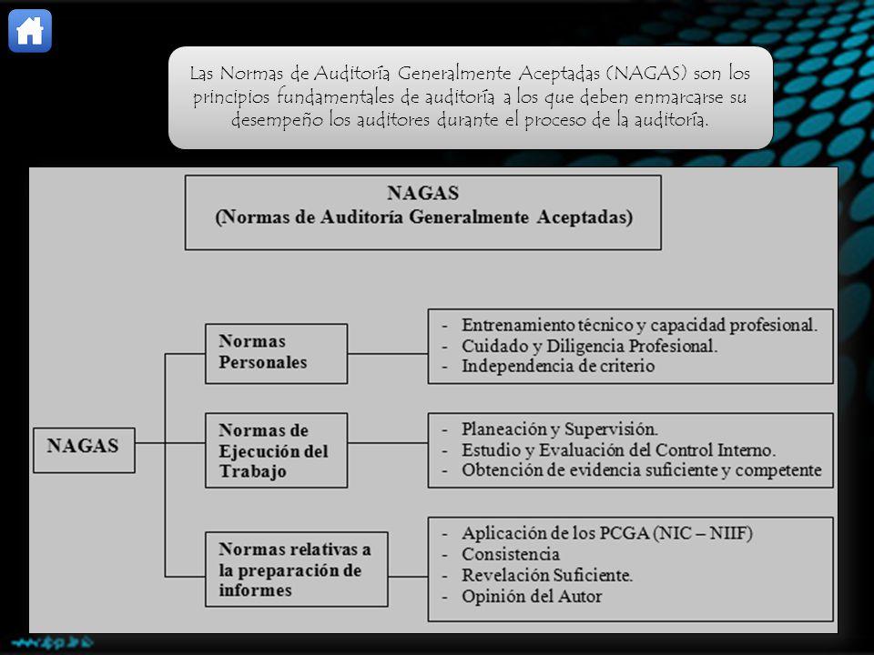 Las Normas de Auditoría Generalmente Aceptadas (NAGAS) son los principios fundamentales de auditoría a los que deben enmarcarse su desempeño los audit
