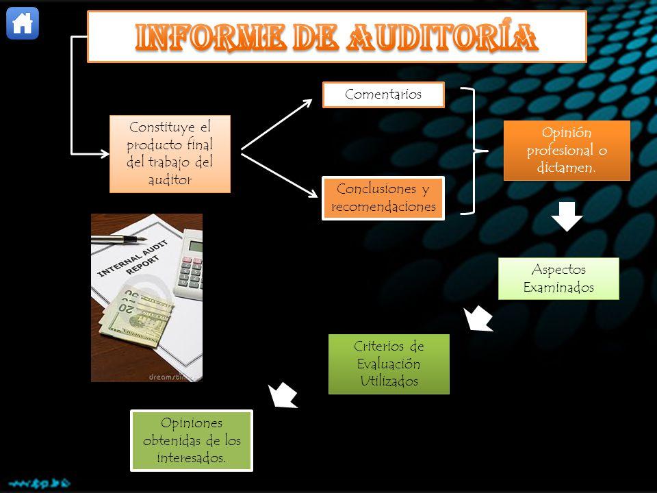 Constituye el producto final del trabajo del auditor Comentarios Conclusiones y recomendaciones Opinión profesional o dictamen. Aspectos Examinados Cr