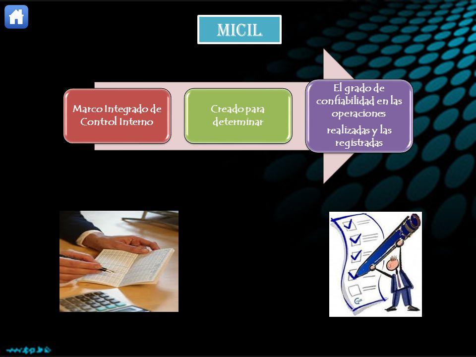 Marco Integrado de Control Interno Creado para determinar El grado de confiabilidad en las operaciones realizadas y las registradas micil