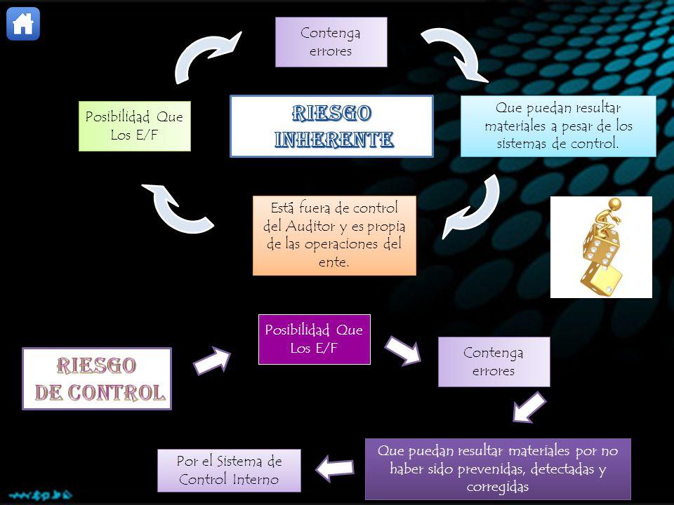 Posibilidad Que Los E/F Contenga errores Que puedan resultar materiales a pesar de los sistemas de control. Está fuera de control del Auditor y es pro