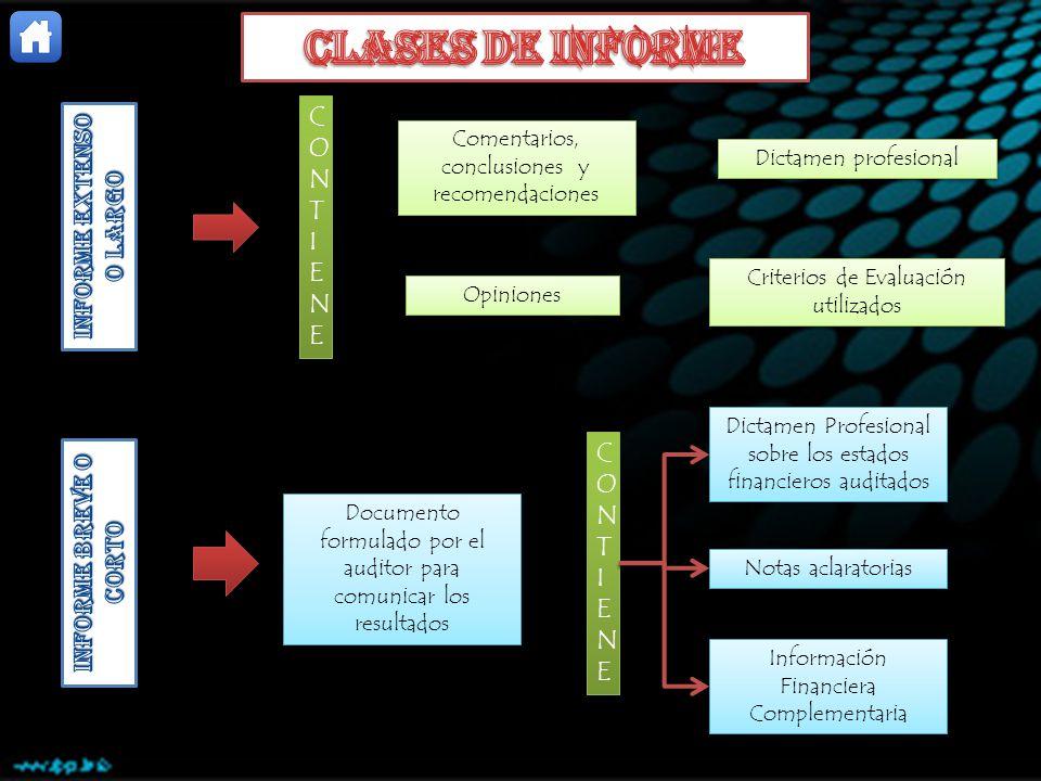 CONTIENECONTIENE CONTIENECONTIENE Comentarios, conclusiones y recomendaciones Dictamen profesional Criterios de Evaluación utilizados Opiniones Docume