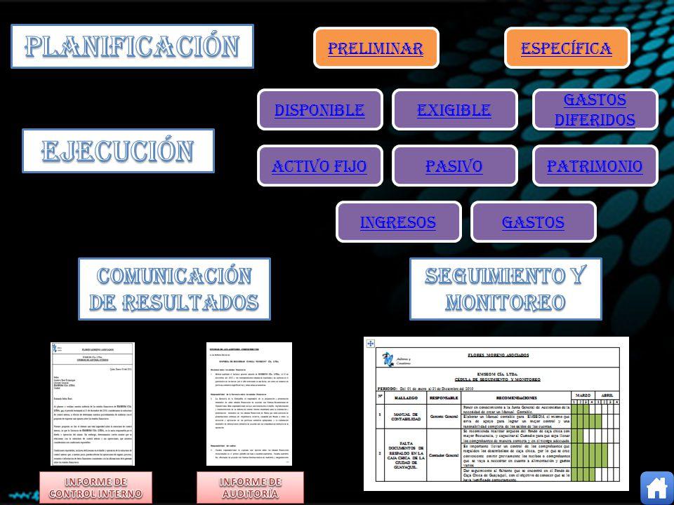 PRELIMINAR ESPECÍFICA ACTIVO FIJO INGRESOS GASTOS PASIVO PATRIMONIO DISPONIBLE EXIGIBLE GASTOS DIFERIDOS GASTOS DIFERIDOS
