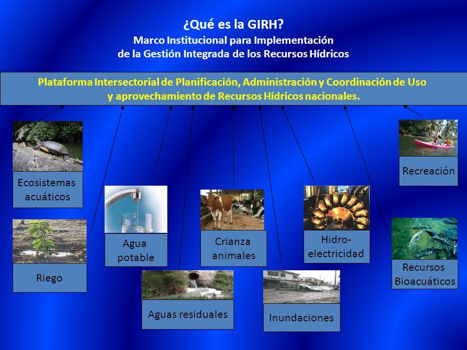 ¿Qué es la GIRH? Marco Institucional para Implementación de la Gestión Integrada de los Recursos Hídricos Agua potable Hidro- electricidad Ecosistemas