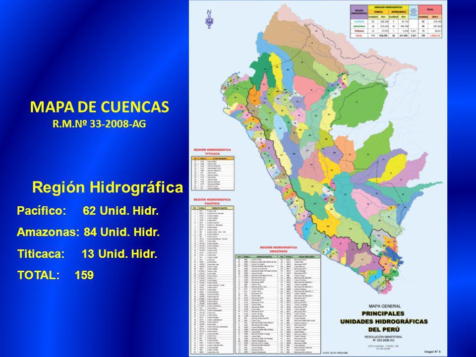28 MAPA DE CUENCAS R.M.Nº 33-2008-AG Región Hidrográfica Pacífico: 62 Unid. Hidr. Amazonas: 84 Unid. Hidr. Titicaca: 13 Unid. Hidr. TOTAL: 159