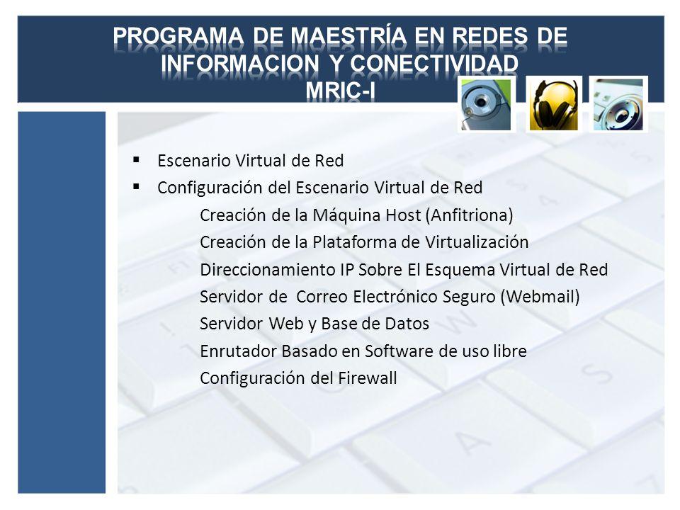 Escenario Virtual de Red Configuración del Escenario Virtual de Red Creación de la Máquina Host (Anfitriona) Creación de la Plataforma de Virtualizaci