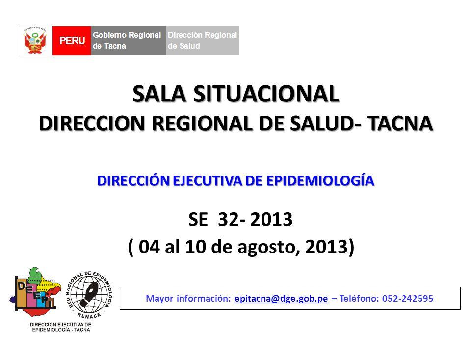 SALA SITUACIONAL DIRECCION REGIONAL DE SALUD- TACNA SE 32- 2013 ( 04 al 10 de agosto, 2013) Mayor información: epitacna@dge.gob.pe – Teléfono: 052-242595epitacna@dge.gob.pe DIRECCIÓN EJECUTIVA DE EPIDEMIOLOGÍA