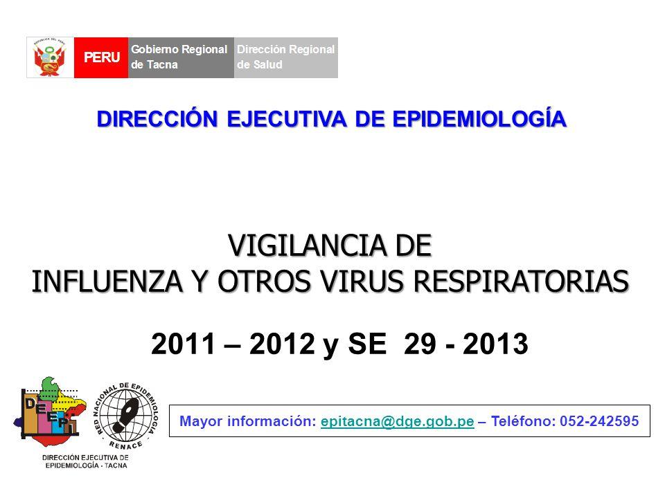 2011 – 2012 y SE 29 - 2013 Mayor información: epitacna@dge.gob.pe – Teléfono: 052-242595epitacna@dge.gob.pe DIRECCIÓN EJECUTIVA DE EPIDEMIOLOGÍA VIGILANCIA DE INFLUENZA Y OTROS VIRUS RESPIRATORIAS