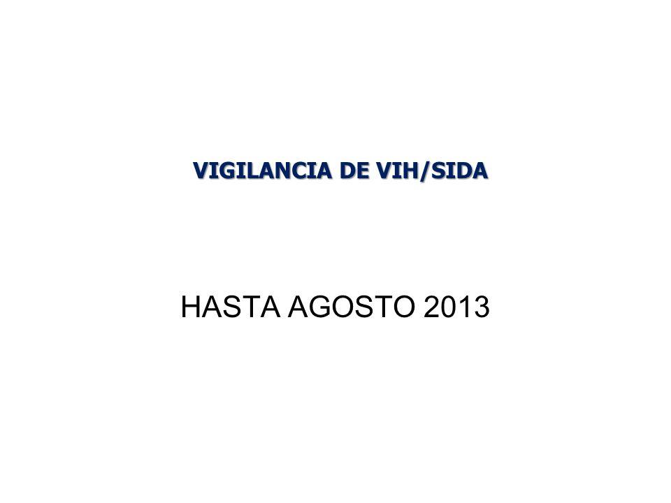 HASTA AGOSTO 2013 VIGILANCIA DE VIH/SIDA
