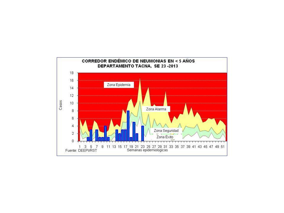 CASOS DE IRAS Y NEUMONIAS POR SEMANAS DEPARTAMENTO TACNA (SE 01 A 23 - 2012 y 2013) SEMANA 20122013 IRAs 1 Tasa x 1000 <5a.
