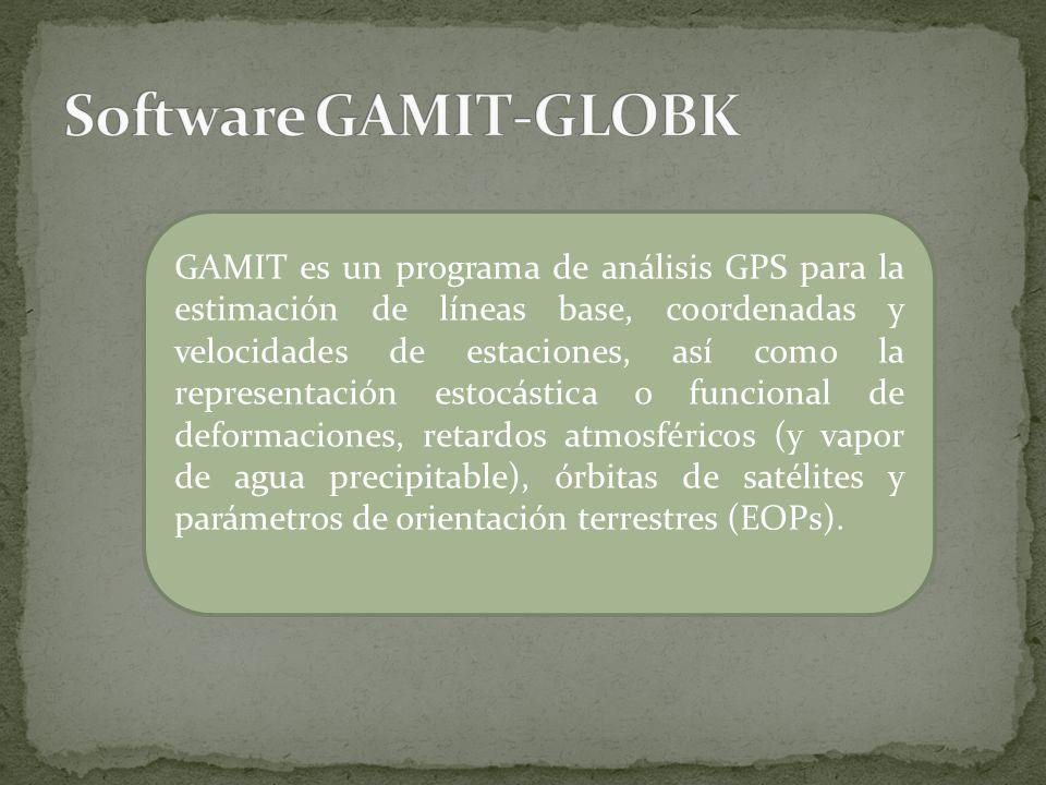 GAMIT es un programa de análisis GPS para la estimación de líneas base, coordenadas y velocidades de estaciones, así como la representación estocástic