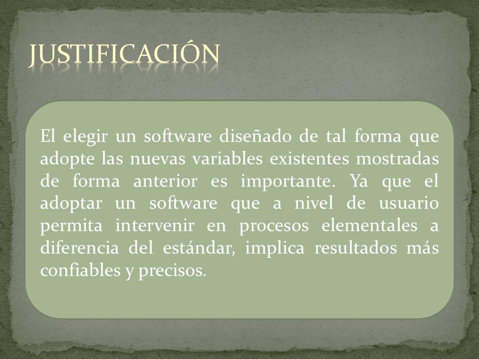 El elegir un software diseñado de tal forma que adopte las nuevas variables existentes mostradas de forma anterior es importante. Ya que el adoptar un