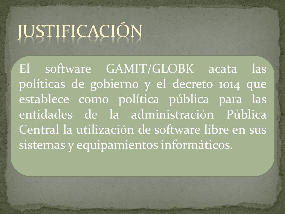 El software GAMIT/GLOBK acata las políticas de gobierno y el decreto 1014 que establece como política pública para las entidades de la administración
