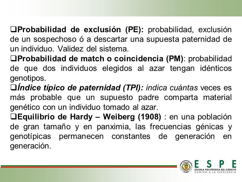 Probabilidad de exclusión (PE): probabilidad, exclusión de un sospechoso ó a descartar una supuesta paternidad de un individuo. Validez del sistema. P