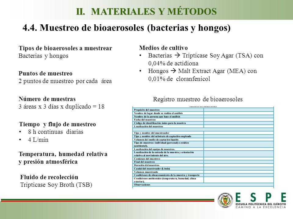 4.4. Muestreo de bioaerosoles (bacterias y hongos) Tipos de bioaerosoles a muestrear Bacterias y hongos Puntos de muestreo 2 puntos de muestreo por ca