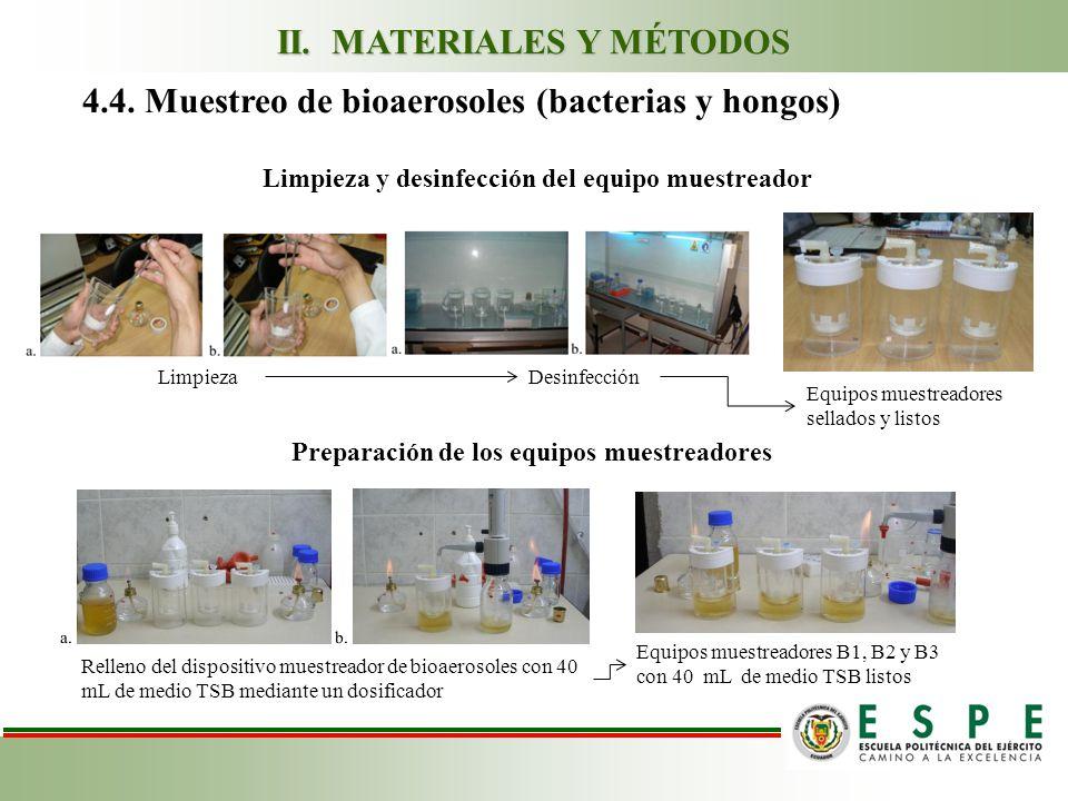 4.4. Muestreo de bioaerosoles (bacterias y hongos) Limpieza y desinfección del equipo muestreador LimpiezaDesinfección Preparación de los equipos mues