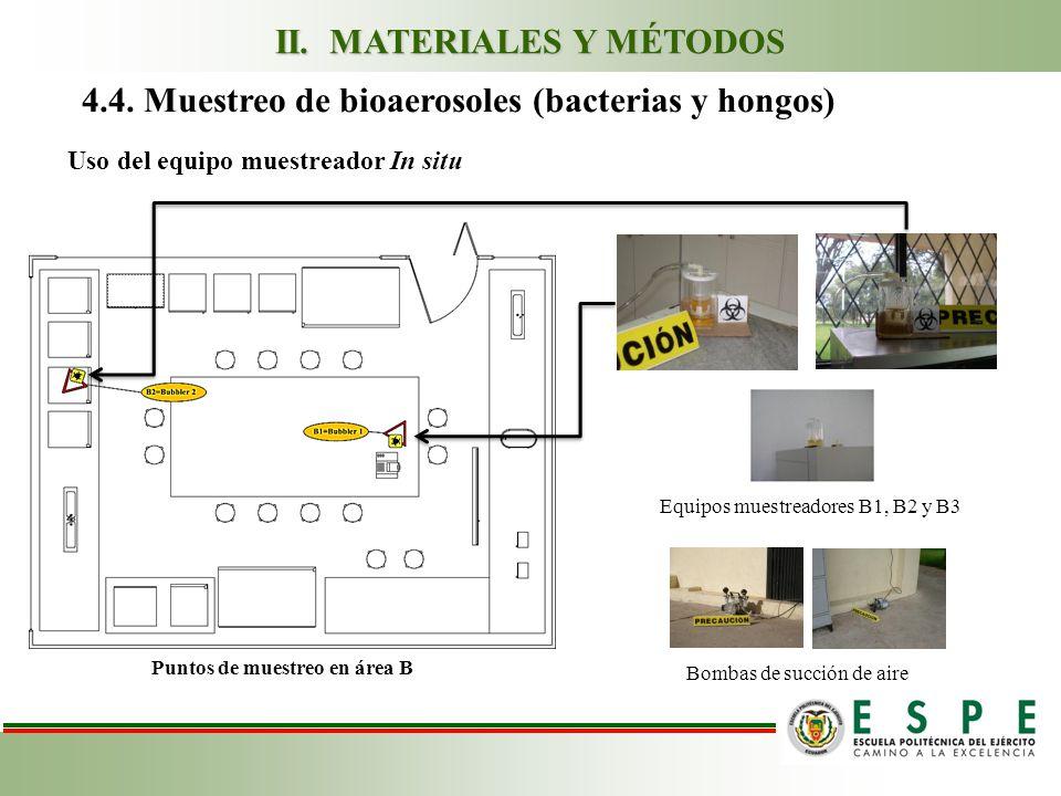 4.4. Muestreo de bioaerosoles (bacterias y hongos) Uso del equipo muestreador In situ Equipos muestreadores B1, B2 y B3 Bombas de succión de aire Punt