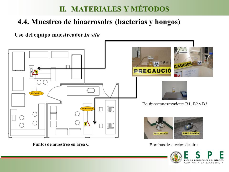 4.4. Muestreo de bioaerosoles (bacterias y hongos) Equipos muestreadores B1, B2 y B3 Bombas de succión de aire Puntos de muestreo en área C Uso del eq