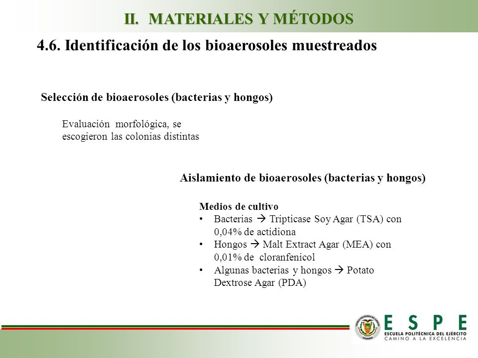 4.6. Identificación de los bioaerosoles muestreados Aislamiento de bioaerosoles (bacterias y hongos) Medios de cultivo Bacterias Tripticase Soy Agar (