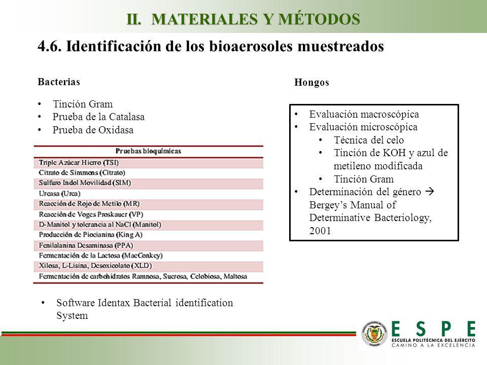 4.6. Identificación de los bioaerosoles muestreados Tinción Gram Prueba de la Catalasa Prueba de Oxidasa Evaluación macroscópica Evaluación microscópi