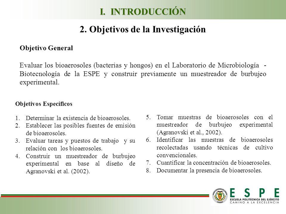 2. Objetivos de la Investigación Objetivo General Evaluar los bioaerosoles (bacterias y hongos) en el Laboratorio de Microbiología - Biotecnología de