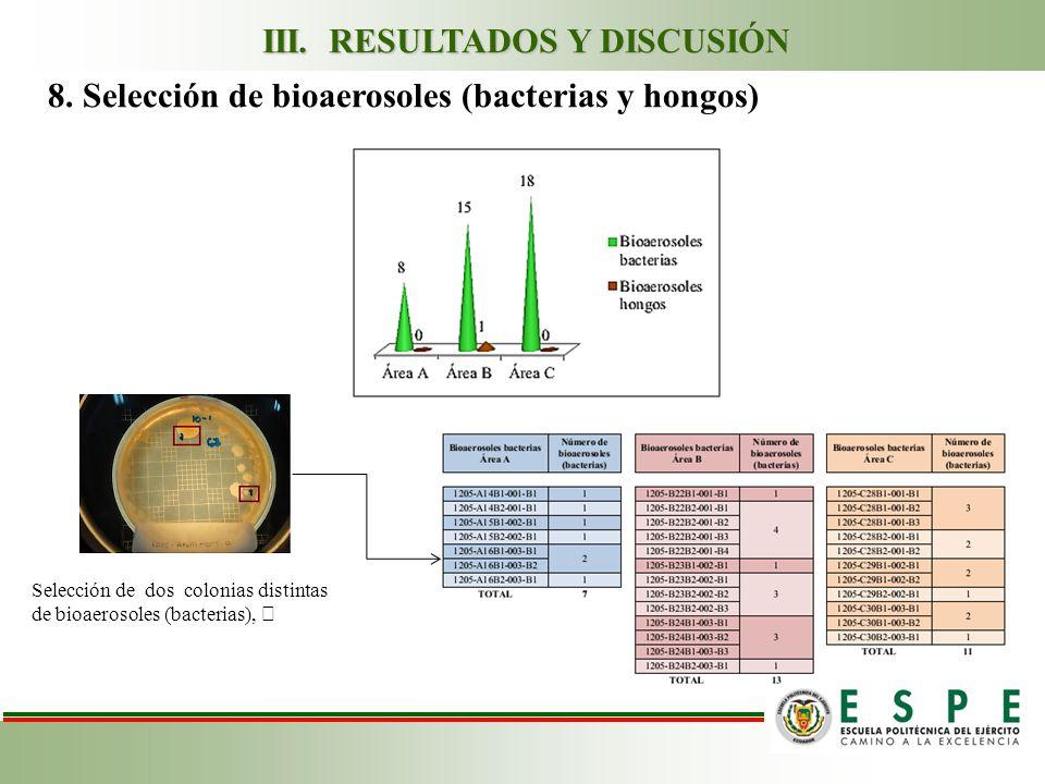 Selección de dos colonias distintas de bioaerosoles (bacterias), 8.