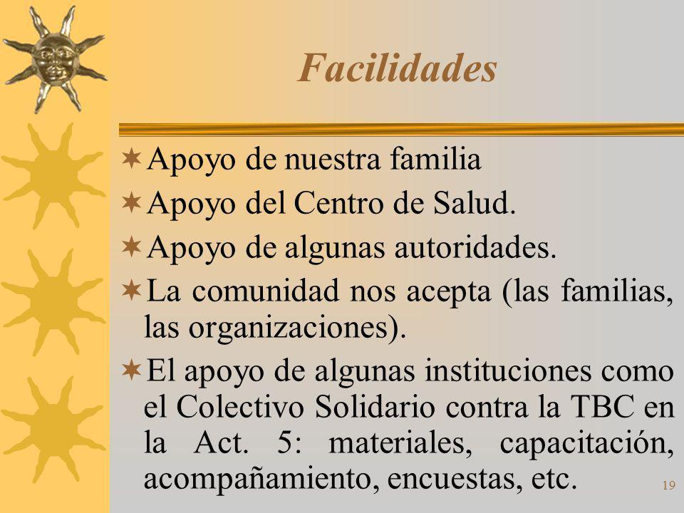 19 Facilidades Apoyo de nuestra familia Apoyo del Centro de Salud.