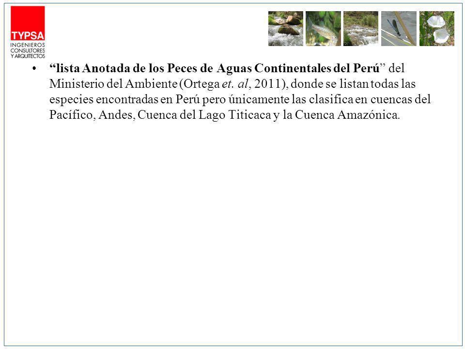 lista Anotada de los Peces de Aguas Continentales del Perú del Ministerio del Ambiente (Ortega et.