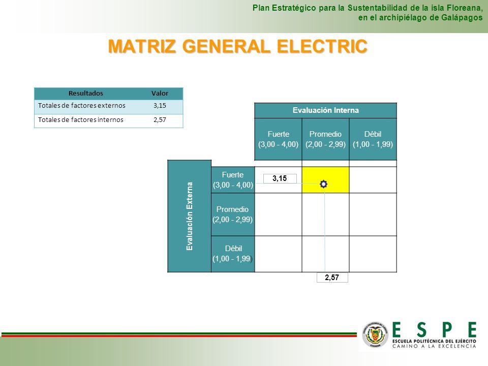 MATRIZ GENERAL ELECTRIC Plan Estratégico para la Sustentabilidad de la isla Floreana, en el archipiélago de Galápagos Evaluación Interna Fuerte (3,00 - 4,00) Promedio (2,00 - 2,99) Débil (1,00 - 1,99) Evaluación Externa Fuerte (3,00 - 4,00) I CRECERII CRECERIII PERSISTIR Promedio (2,00 - 2,99) IV CRECERV PERSISTIR VI COSECHAR O ELIMINAR Débil (1,00 - 1,99) VII PERSISTIR VIII COSECHAR O ELIMINAR IX COSECHAR O ELIMINAR La matriz nos demuestra que la sostenibilidad de la isla Floreana está en una situación fuerte para el crecimiento, tomando en cuenta los aspectos internos y los externos.