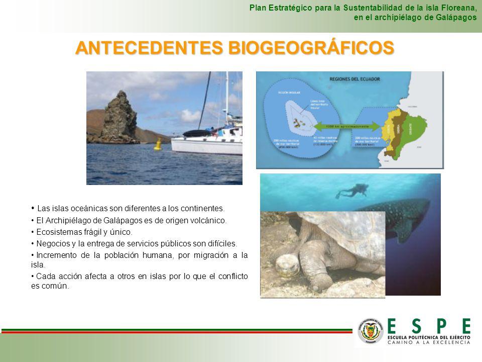 ANTECEDENTES BIOGEOGRÁFICOS Plan Estratégico para la Sustentabilidad de la isla Floreana, en el archipiélago de Galápagos Las islas oceánicas son dife