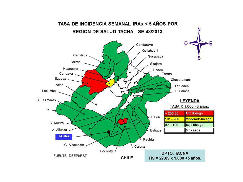 SALA SITUACIONAL DIRECCION REGIONAL DE SALUD- TACNA SE 48 2013 ( 24 al 30 de Noviembre 2013) Mayor información: epitacna@dge.gob.pe – Teléfono: 052-242595epitacna@dge.gob.pe DIRECCIÓN EJECUTIVA DE EPIDEMIOLOGÍA