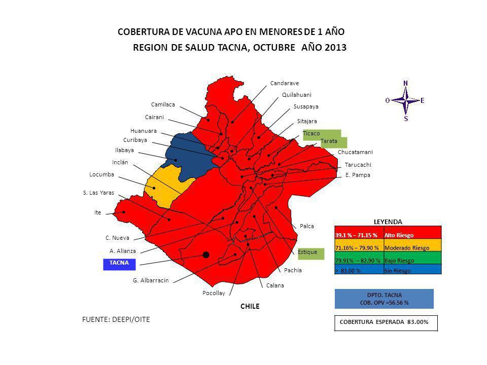 FUENTE: DEEPI/OITE CHILE Candarave Camilaca Cairani Huanuara Ilabaya Locumba Ite Inclán Curibaya Quilahuani Susapaya Sitajara Ticaco Tarata C. Nueva A