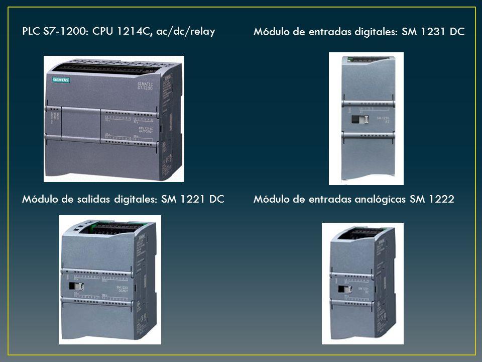 PLC S7-1200: CPU 1214C, ac/dc/relay Módulo de entradas digitales: SM 1231 DC Módulo de salidas digitales: SM 1221 DCMódulo de entradas analógicas SM 1