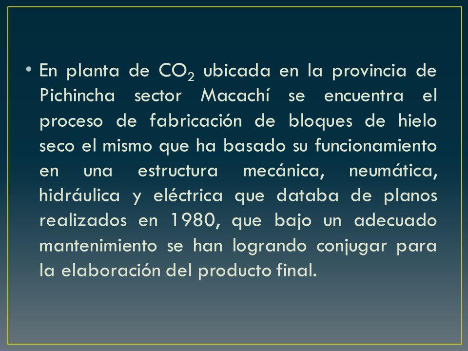 En planta de CO 2 ubicada en la provincia de Pichincha sector Macachí se encuentra el proceso de fabricación de bloques de hielo seco el mismo que ha