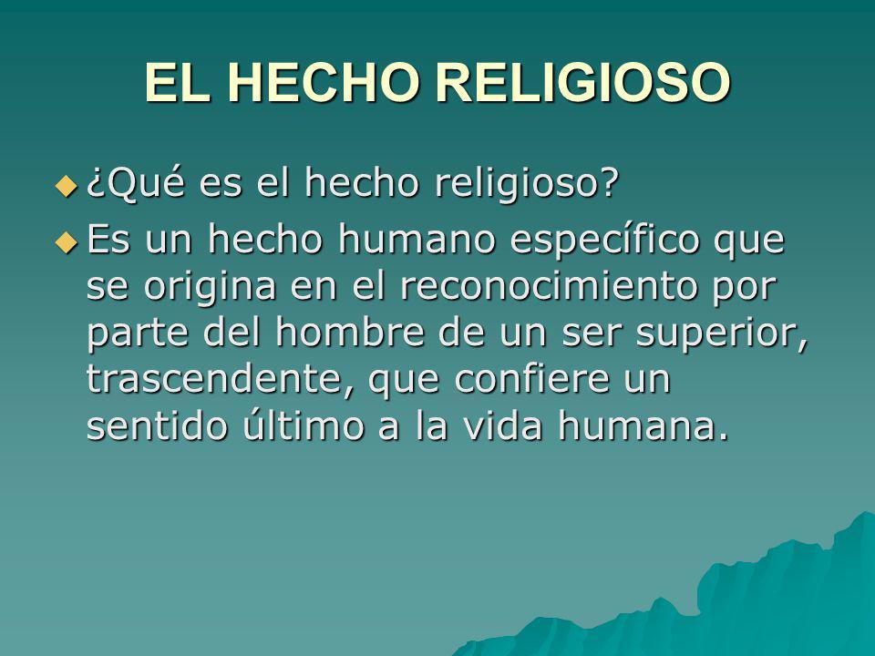 EL HECHO RELIGIOSO ¿Qué es el hecho religioso? ¿Qué es el hecho religioso? Es un hecho humano específico que se origina en el reconocimiento por parte