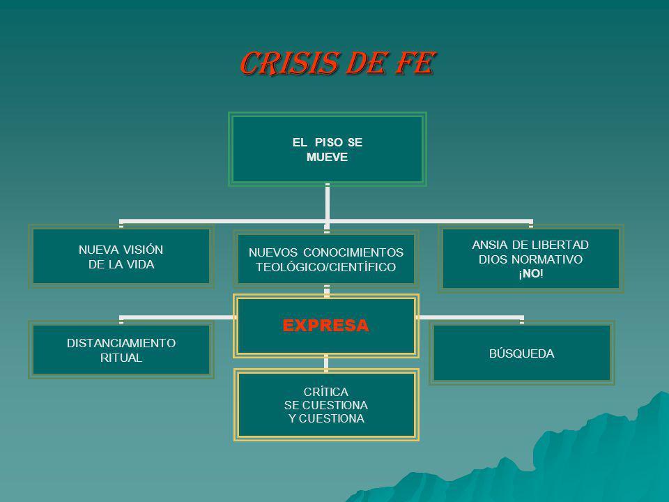 CRISIS DE FE EL PISO SE MUEVE NUEVA VISIÓN DE LA VIDA DISTANCIAMIENTO RITUAL NUEVOS CONOCIMIENTOS TEOLÓGICO/CIENTÍFICO EXPRESA CRÍTICA SE CUESTIONA Y