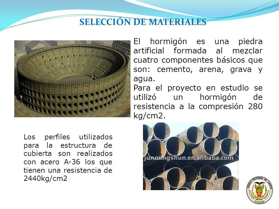 SELECCIÓN DE MATERIALES El hormigón es una piedra artificial formada al mezclar cuatro componentes básicos que son: cemento, arena, grava y agua. Para