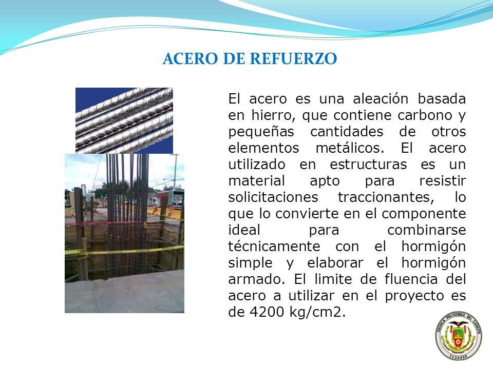 ACERO DE REFUERZO El acero es una aleación basada en hierro, que contiene carbono y pequeñas cantidades de otros elementos metálicos. El acero utiliza