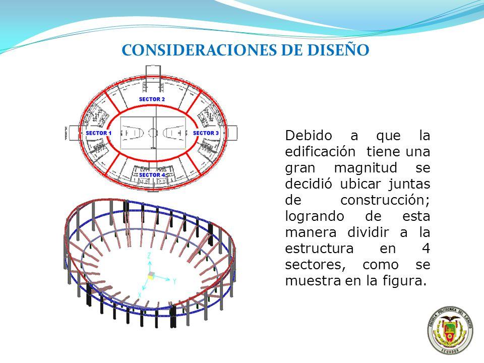 CONSIDERACIONES DE DISEÑO Debido a que la edificación tiene una gran magnitud se decidió ubicar juntas de construcción; logrando de esta manera dividi