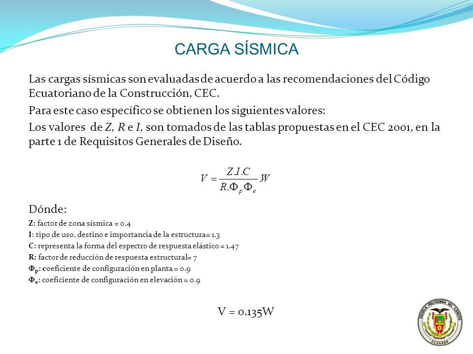 CARGA SÍSMICA Las cargas sísmicas son evaluadas de acuerdo a las recomendaciones del Código Ecuatoriano de la Construcción, CEC. Para este caso especí