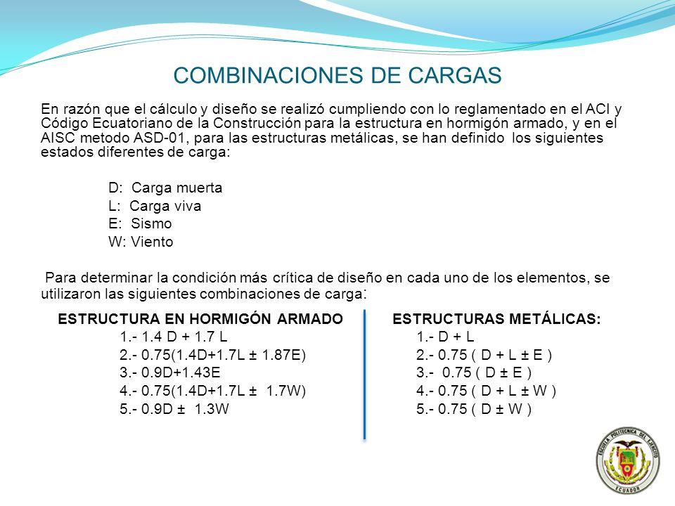 COMBINACIONES DE CARGAS En razón que el cálculo y diseño se realizó cumpliendo con lo reglamentado en el ACI y Código Ecuatoriano de la Construcción p