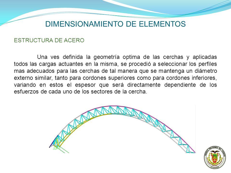 DIMENSIONAMIENTO DE ELEMENTOS ESTRUCTURA DE ACERO Una ves definida la geometría optima de las cerchas y aplicadas todos las cargas actuantes en la mis