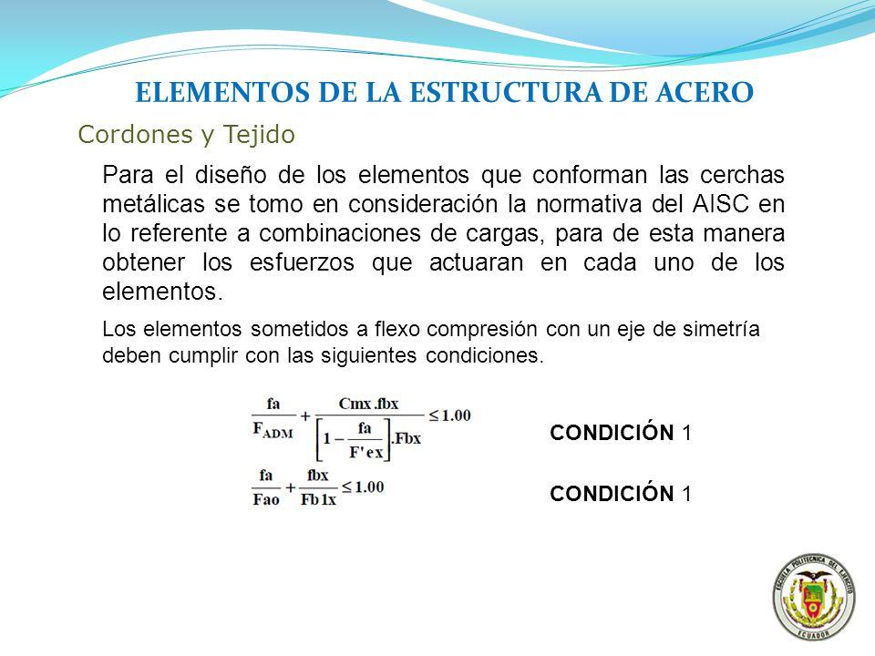 ELEMENTOS DE LA ESTRUCTURA DE ACERO Cordones y Tejido Para el diseño de los elementos que conforman las cerchas metálicas se tomo en consideración la